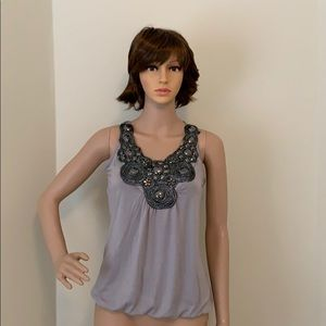 Ladies banded bottom jeweled top
